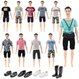 28 Pieces Ken Clothes Set Including 10 Ken Clothes Doll Clothes Barbie's Boyfriend Clothes 10 Pants Outfits and 4 Pairs of Shoes for Ken Barbie Dolls