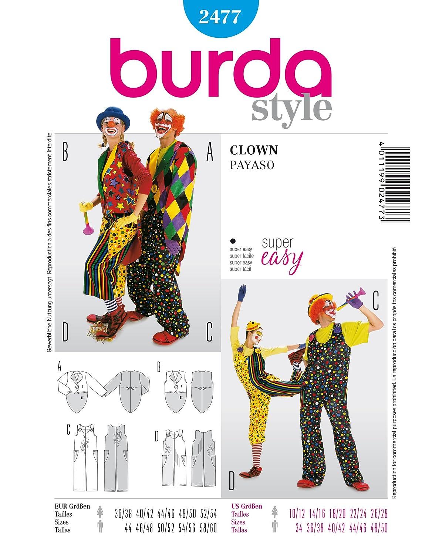 Burda 2477 - Patrones para disfraz payaso de carnaval (Hombre ...