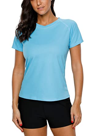 efdbf96c34 ATTRACO tee Shirt for Womens Short Sleeve Rash Guard UPF 50+ Aqua Medium