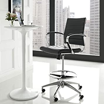 Prime Modway Jive Drafting Chair In Black Reception Desk Chair Tall Office Chair For Adjustable Standing Desks Counter Height Swivel Stool Cjindustries Chair Design For Home Cjindustriesco