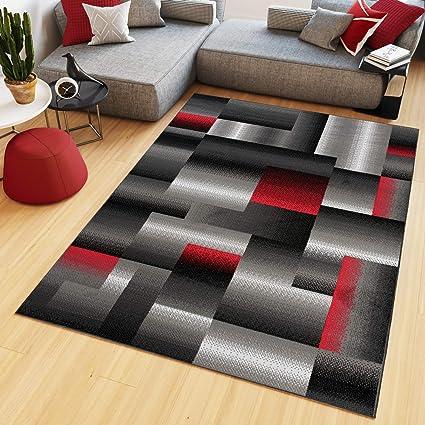 Tapiso Maya Tapis de Salon Chambre Ado Design Moderne Noir Gris Rouge  Géométrique Rayures Moucheté Fin 200 x 300 cm