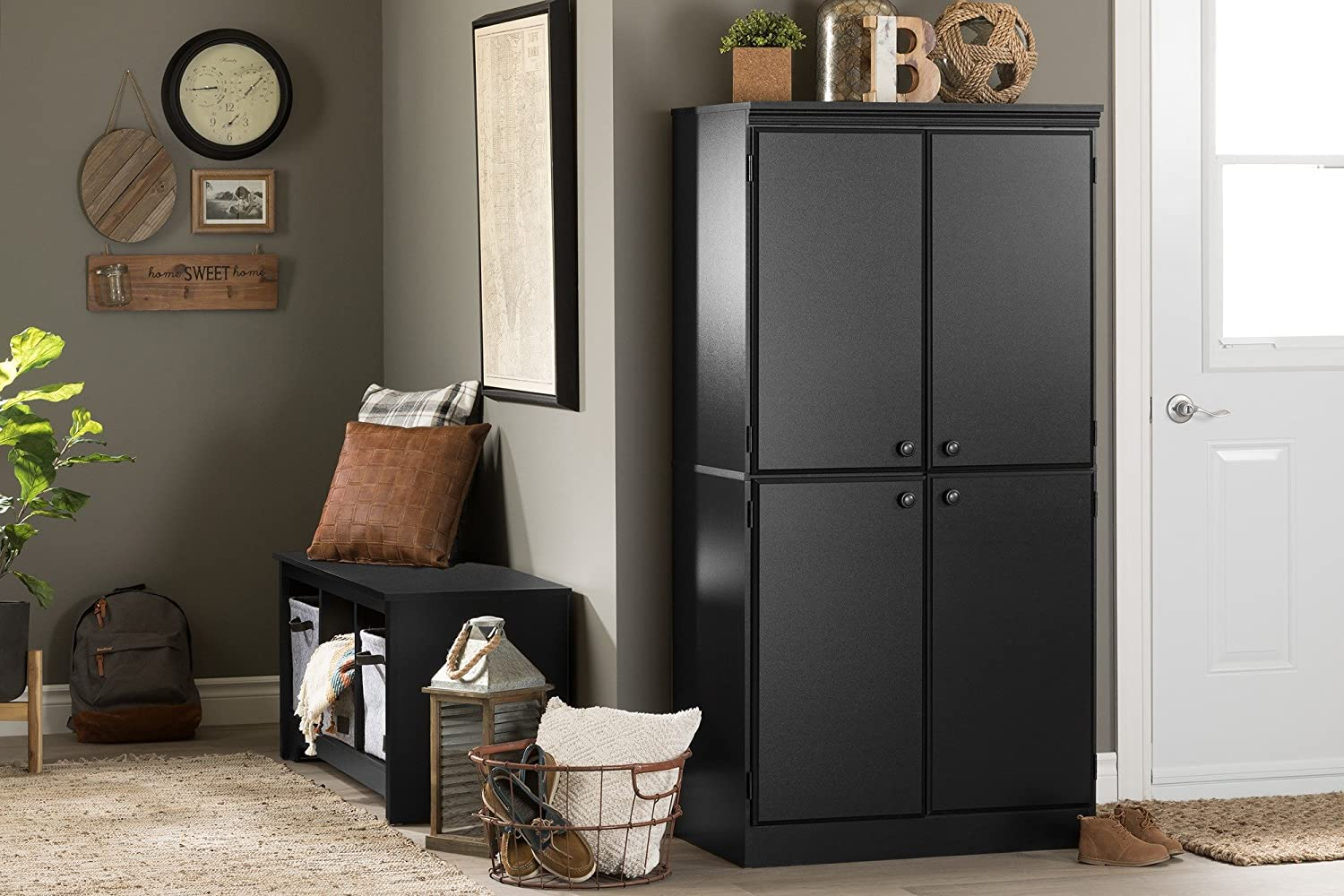 South Shore Tall 4-Door Storage Cabinet with Adjustable Shelves Country Pine