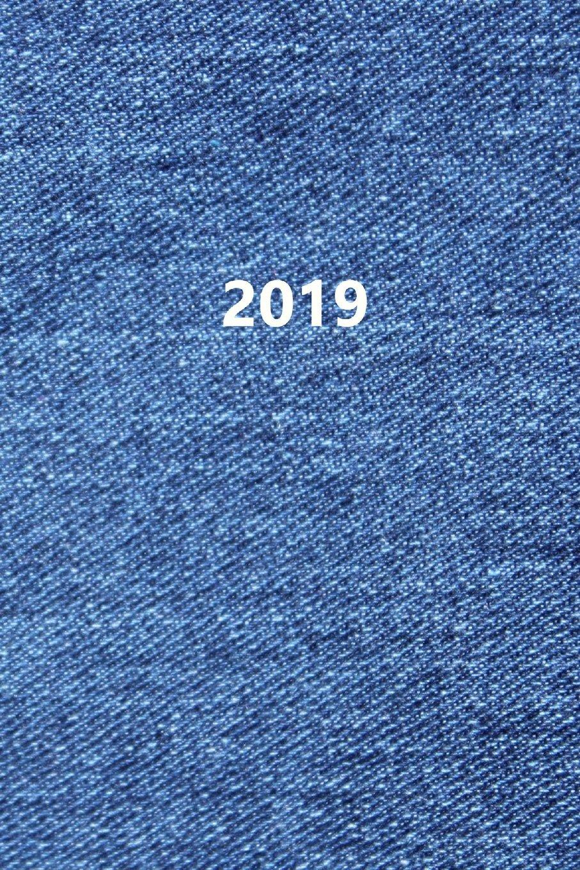 2019: Kalender/Terminplaner: 1 Woche auf 2 Seiten, Format ca. A5, Cover Jeans
