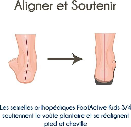 douleur au talon FootActive KIDS 3//4 semelles Fasciite plantaire douleur du genou douleur au dos et r/établir la marche naturelle de lenfant semelle orthop/édique pour la maladie de Sever