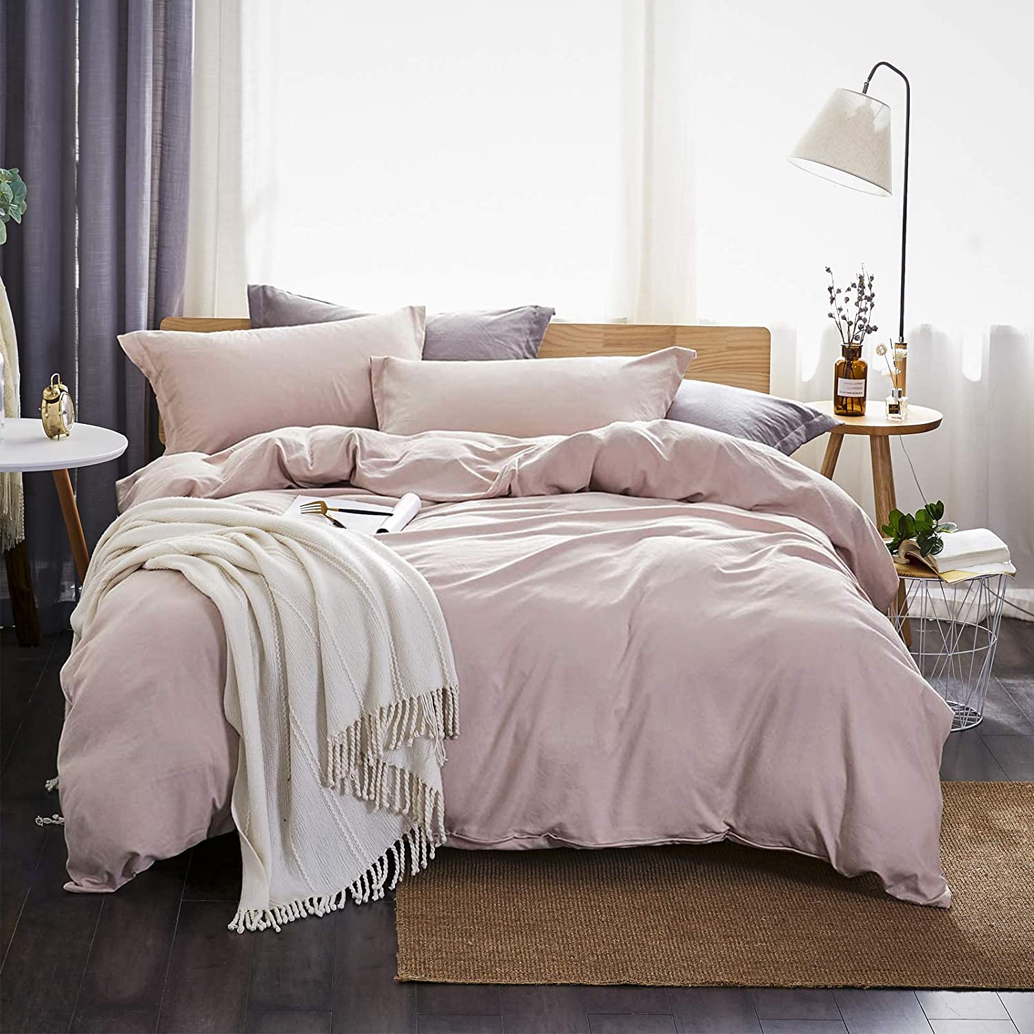 Dreaming Wapiti, 100% Washed Microfiber 3pcs Bedding Duvet Cover Set, Solid Color-Soft and Breathable with Zipper Closure & Corner Ties Pink Mocha, Queen) 3 Pieces