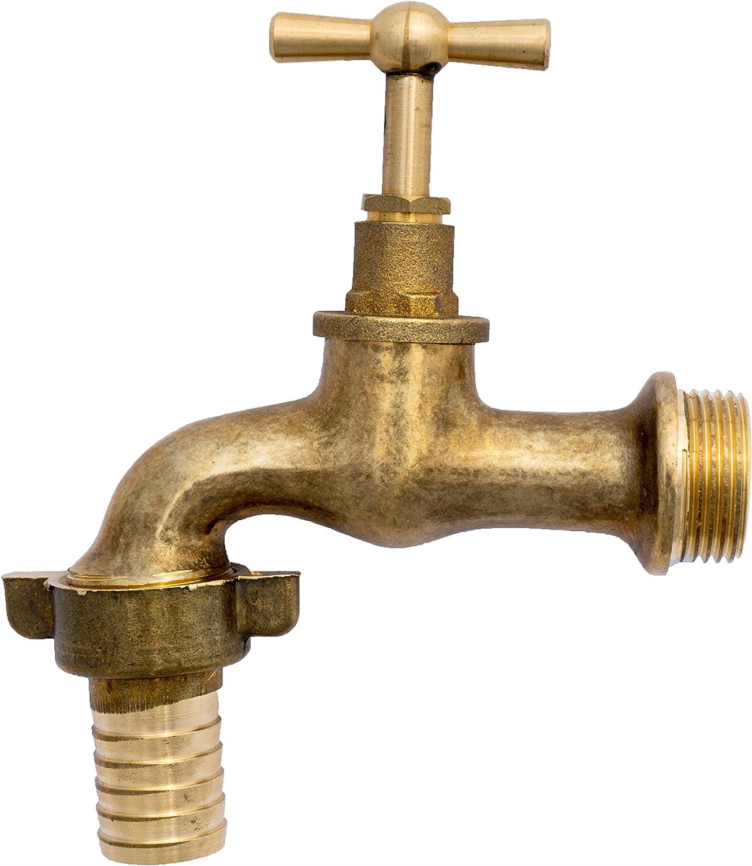 BFG 1//2 rubinetto da giardino lucido vecchio stile vintage con adattatore flessibile acqua leva bavaglino in ottone