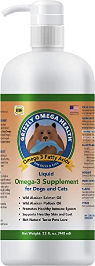Grizzly Omega Health for Dogs & Cats, Wild Salmon/Pollock Oil...
