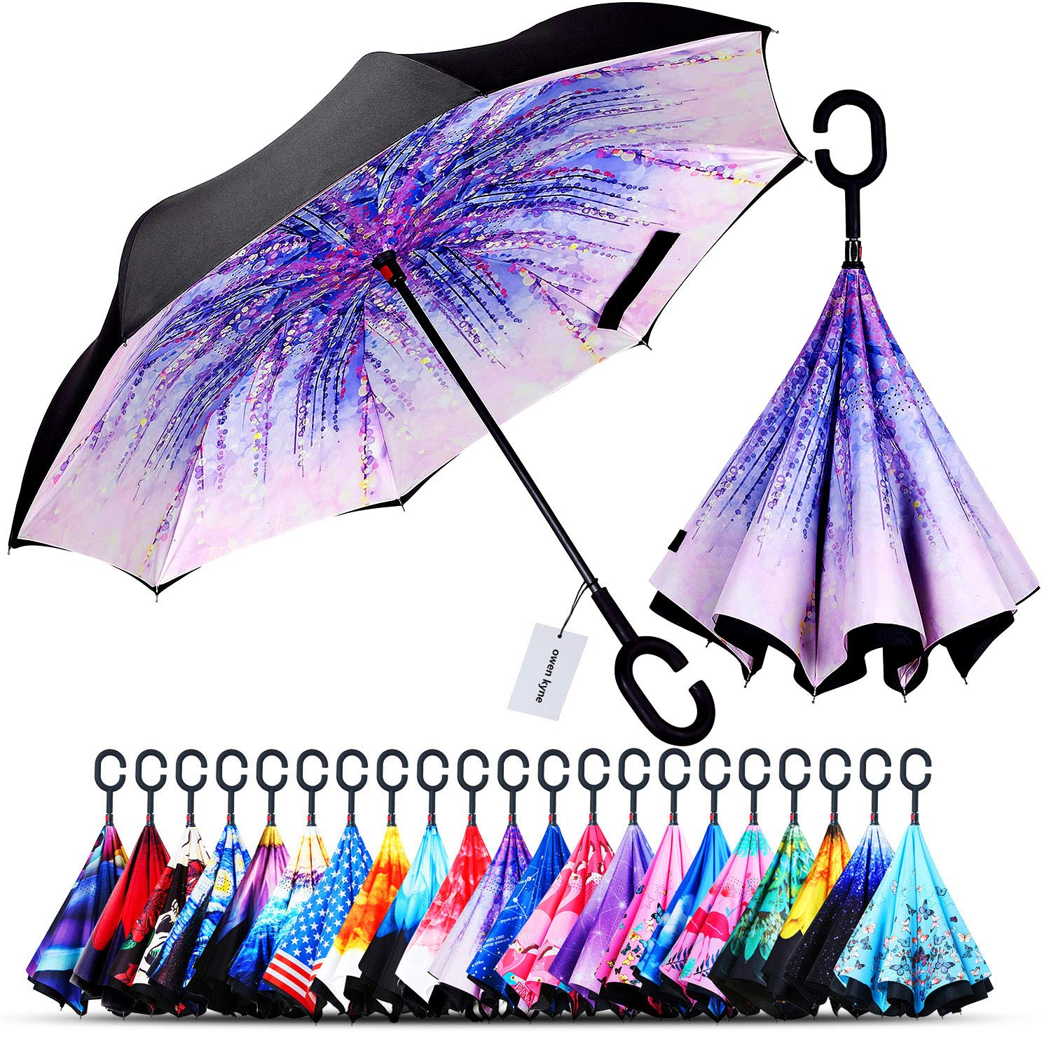 Owen Kyne Windproof Double Layer Folding Inverted Umbrella, Self Stand Upside-Down Rain Protection Car Reverse Umbrellas with C-Shaped Handle (Wisteria Tree) by Owen Kyne