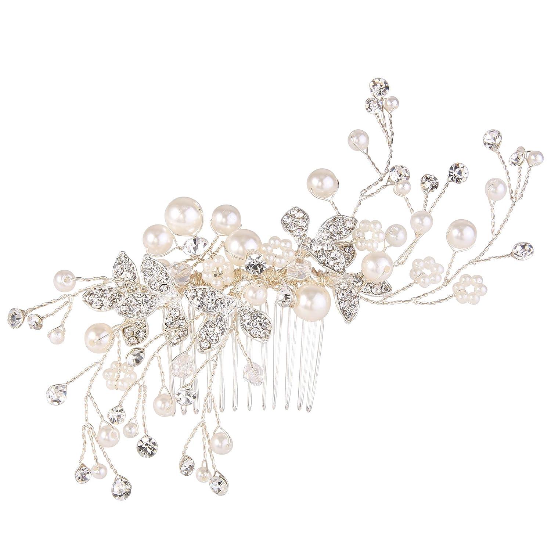BriLove Women's Simulated Pearl Crystal Floral Handmade DIY Bendable Filigree Hair Comb 12001290-1