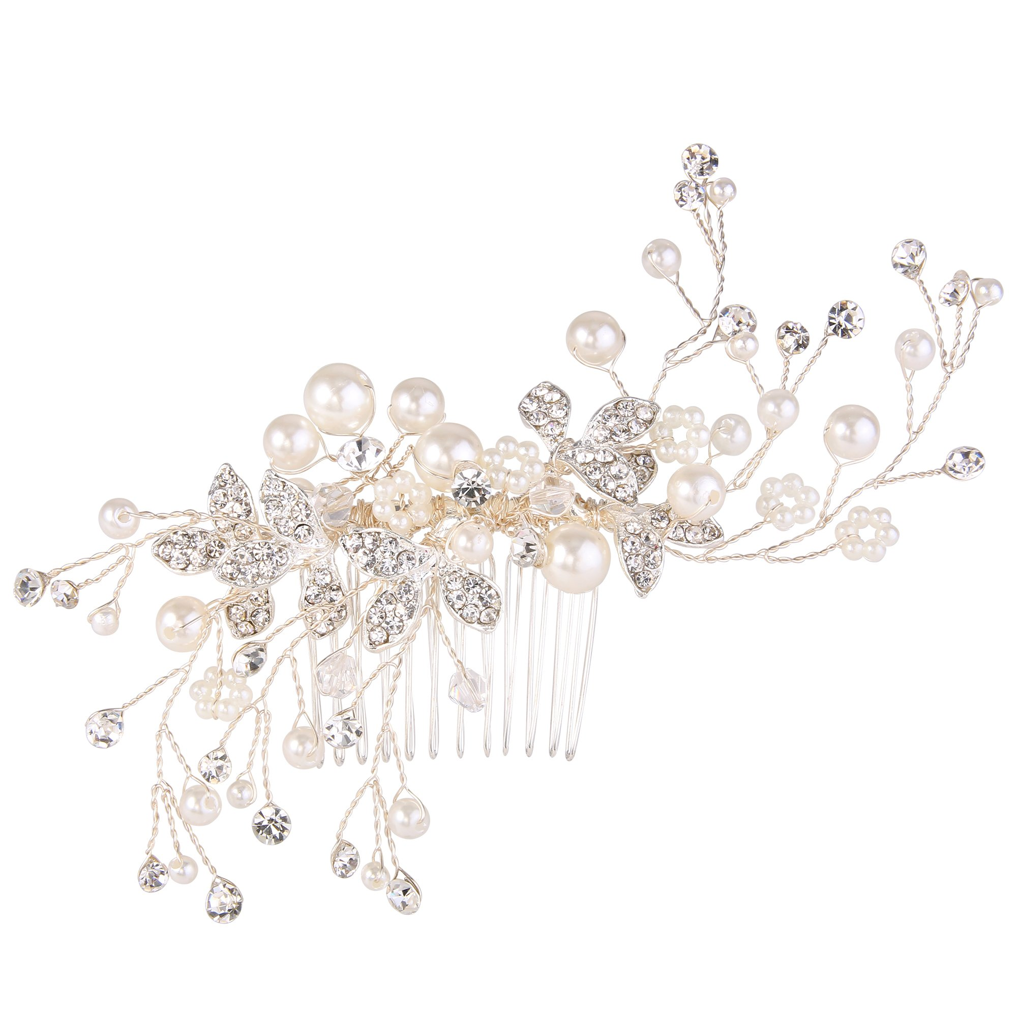 BriLove Wedding Bridal Hair Comb Hair Accessories with Ivory Color Simulated Pearl Crystal Floral DIY Handmade Bendable Filigree Bead for Women Clear Silver-Tone