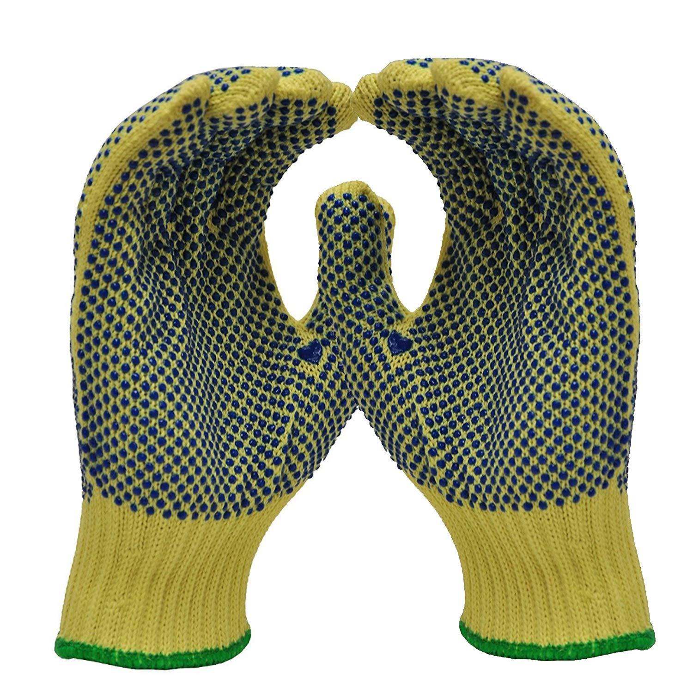 Ying xinguang New Gants de Travail pointillés de Polyester de Coton, Tricot de Ficelle, Points de PVC sur Deux côtés (Color : Yellow, Size : 10 Pairs M) Points de PVC sur Deux côtés (Color : Yellow