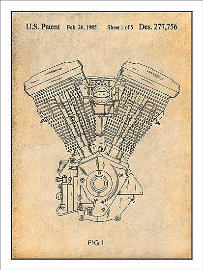 "amazon com harley davidson motorcycle evolution engine patent print harley-davidson primary diagram harley davidson motorcycle evolution engine patent print art poster unframed parchment 18"""