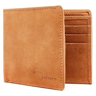 814ed43de0cc Amazon.com  Genuine Leather Wallets For Men - Bifold Mens Wallet With ID  Window RFID Blocking  Clothing