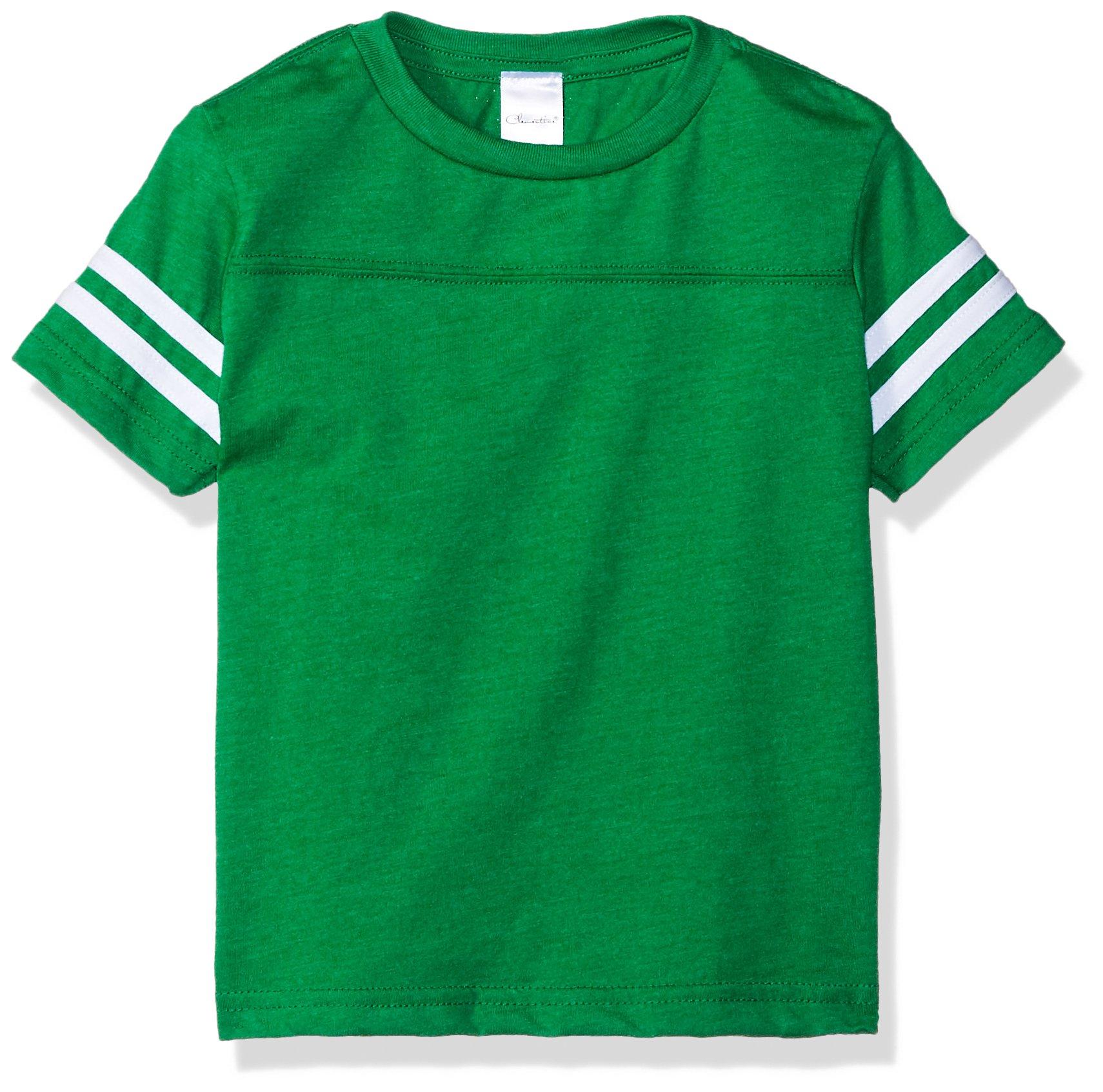 Clementine Toddler Kids Football Fine Jersey T-Shirt, GRN HTH/Vin SMK, 3T