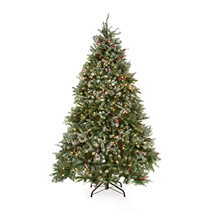 Amazon.com: Snowy Dunhill Full Pre-lit Christmas Tree: Home & Kitchen