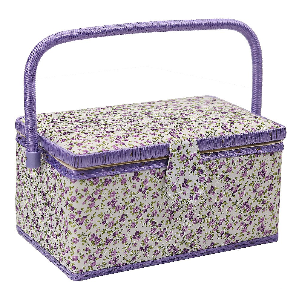 D& D Sewing Basket with Sewing Kit Accessories - Purple DS0606