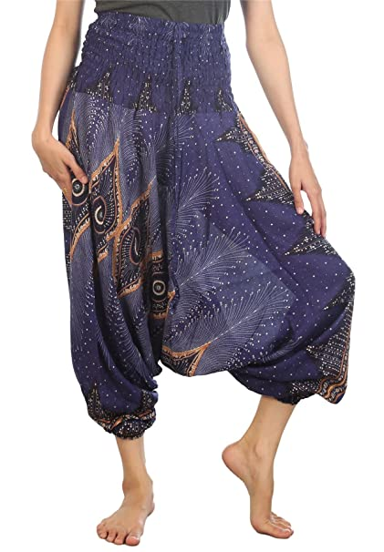 c3830235993 Lofbaz Women s Floral Eye Harem Smocked Waist 2 in 1 Jumpsuit Pants Blue S