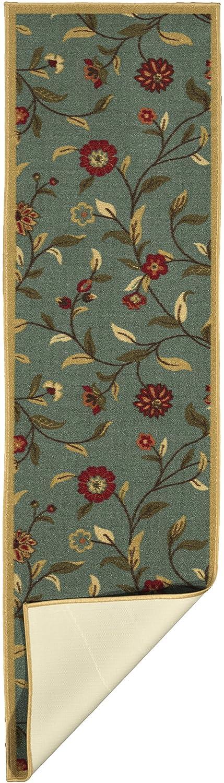 Ottomanson Ottohome Collection Floral Garden Design Non-Skid Rubber Backing Modern Area Rug 2 X 5 Oval Seafoam 2/' X 5/' Oval OTH2095O-2X5