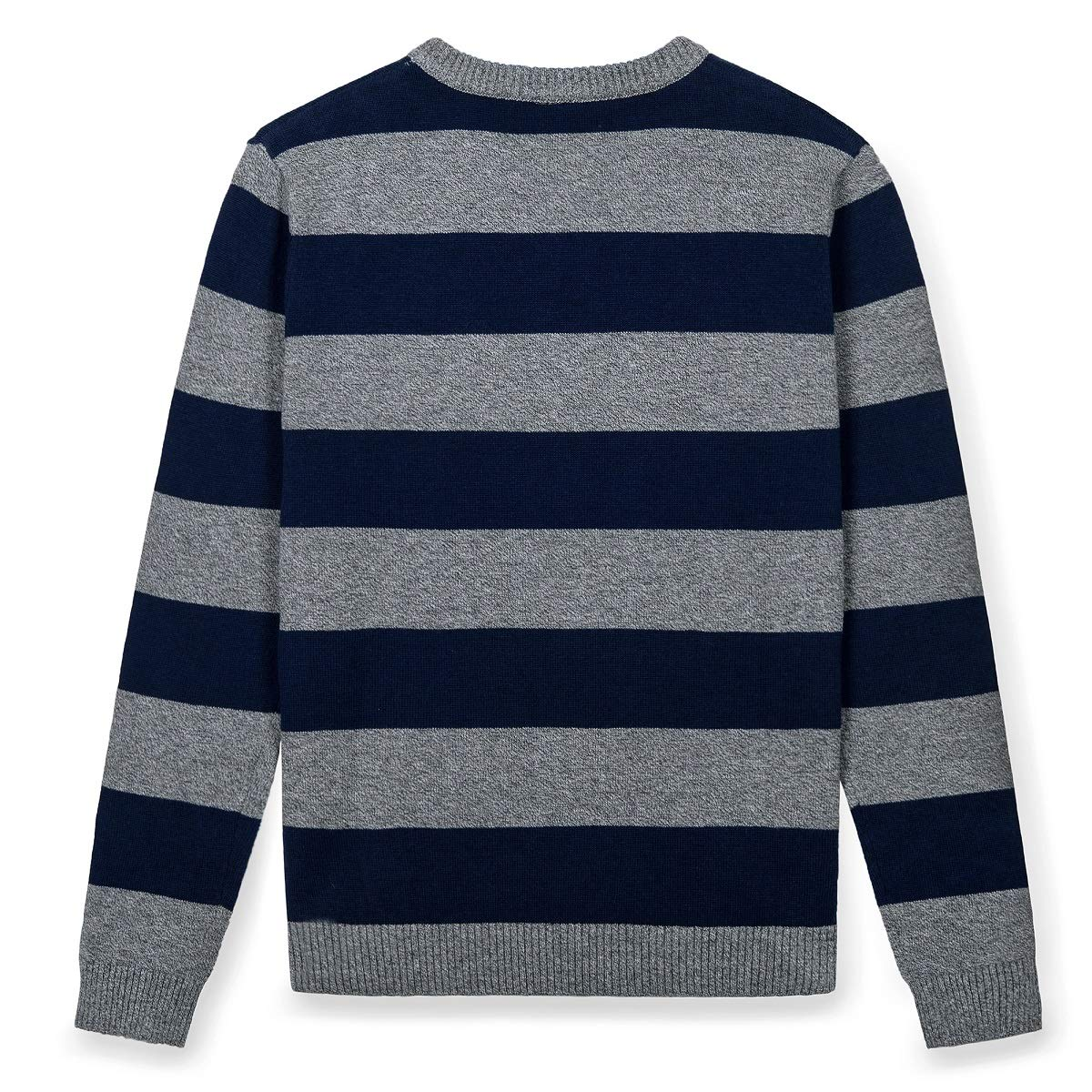 Kid Nation Kids Sweater Long Sleeve Crew Neck Pullover Stripe Cotton Knit Sweater for Boys or Girls