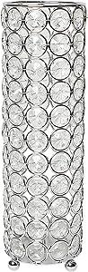 Elegant Designs HG1011 Elipse Crystal Flower Decorative Candleholder/Vase, 10.25 Inch, Chrome