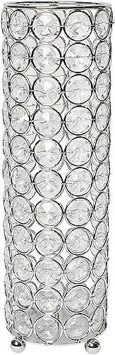 Elegant Designs Elipse Crystal Flower Decorative Candleholder Vase, 10.25 Inch, Chrome