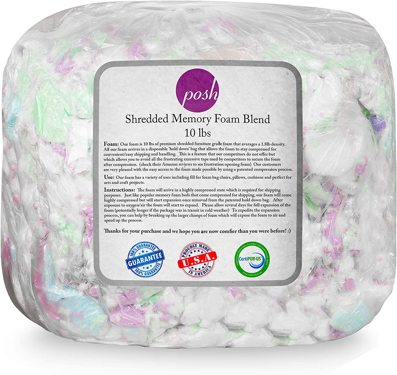 Posh Beanbags Refill Foam Filling Shredded, 10lbs, Multi-Color