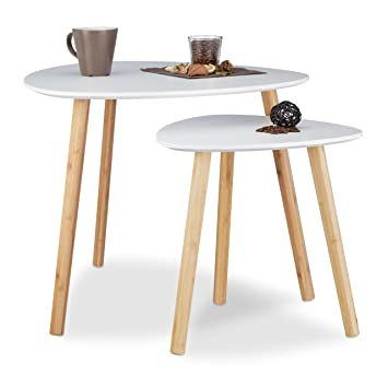 Relaxdays Table D Appoint Ronde Lot De 2 En Bois Blanc Table Gigogne