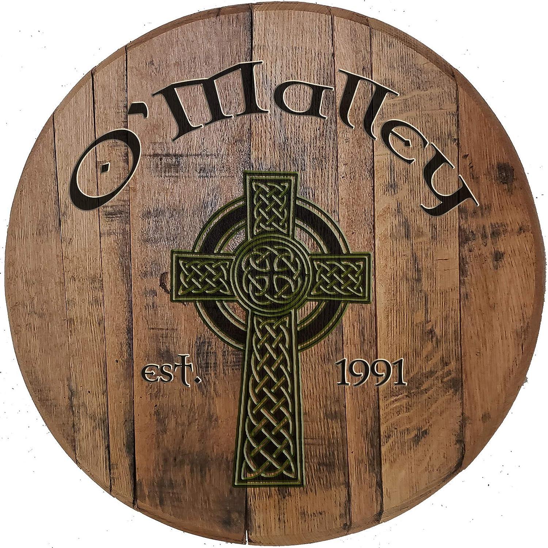 Celtic Cross Irish Pub Bar Decor for Rustic Home Bar Authentic Whiskey Barrel Wall Art