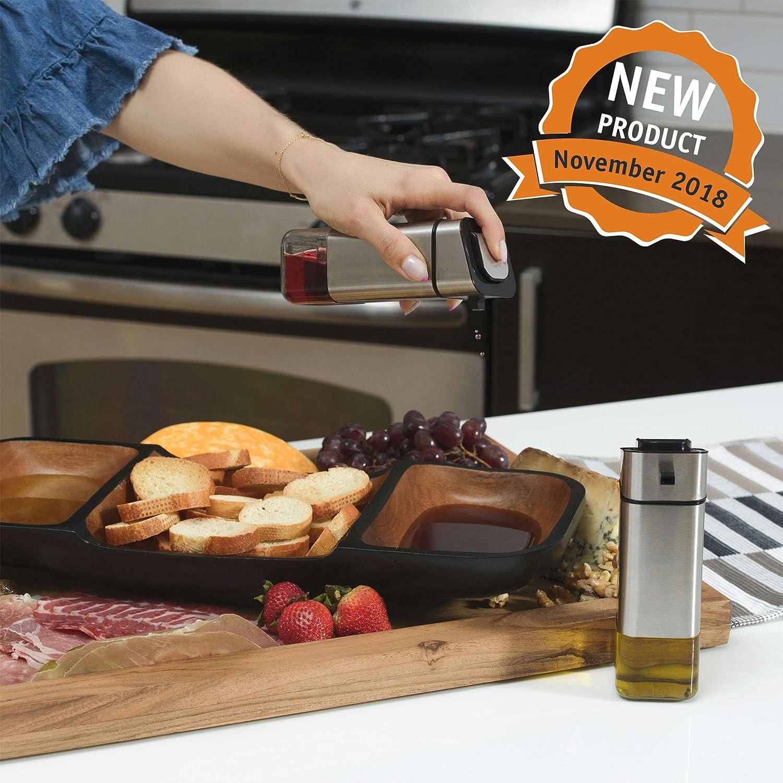 CHEFVANTAGE Olive Oil and Vinegar Cruet Dispenser Set with Elegant Glass Bottle and Drip Free Design Black