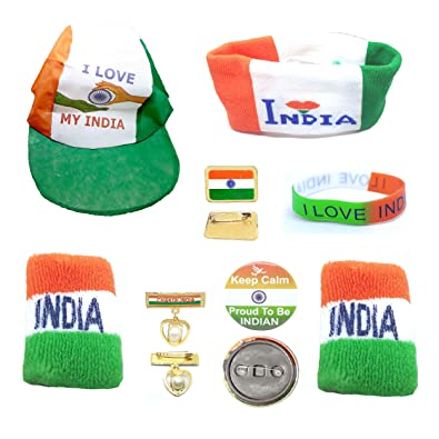 53443604529b5 Buy SKN 10-Piece Combo Independence Day Indian National Tricolour Flag Cap  Head and Wrist Band and Badge Online at Low Prices in India