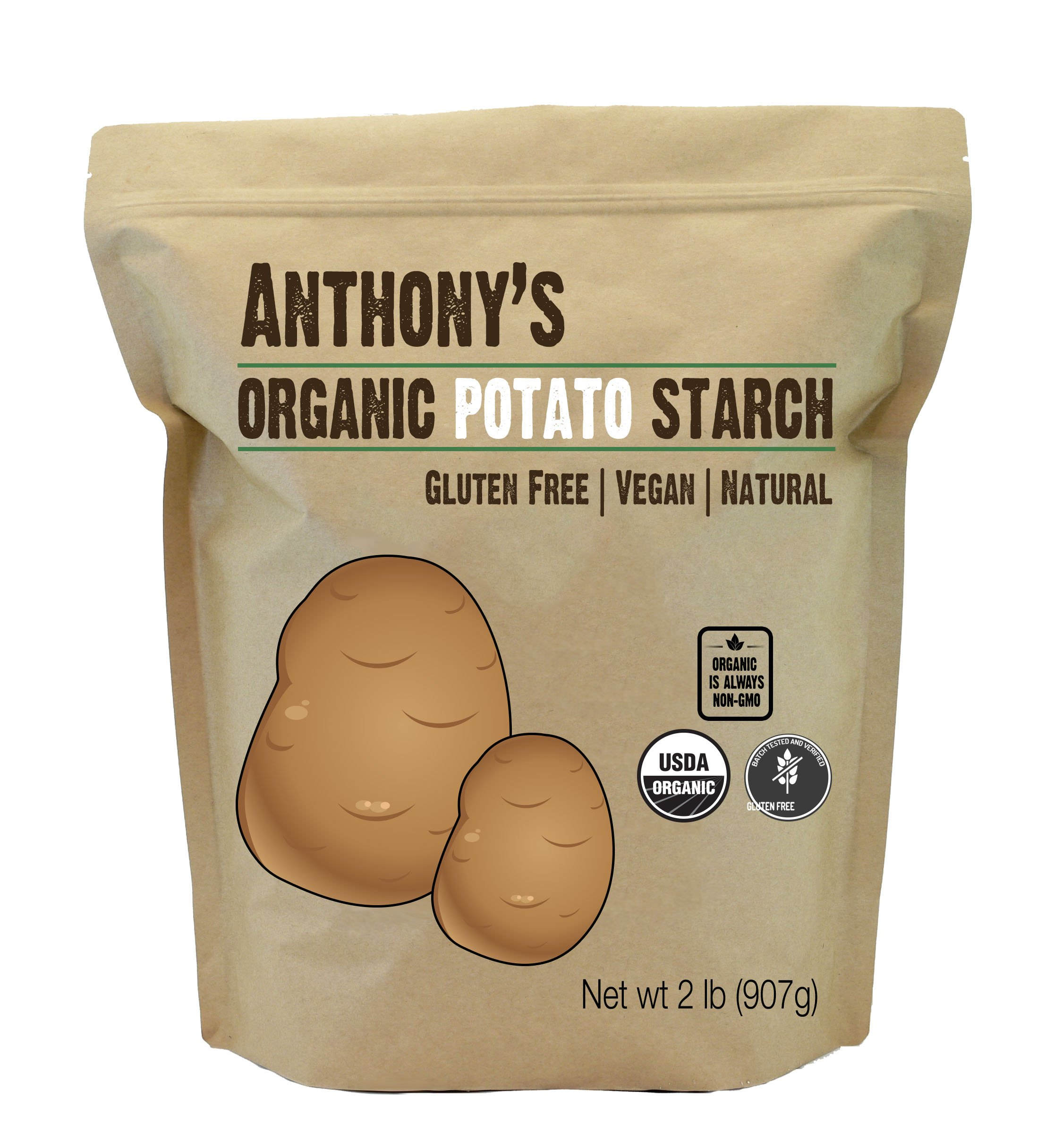 Anthony's Organic Potato Starch Unmodified (2 Pounds), Batch Tested Gluten-Free & Non-GMO