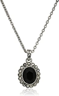 """product image for 1928 Jewelry Hematite-Tone Black Oval Pendant Necklace, 16"""" + 3"""" Extender"""