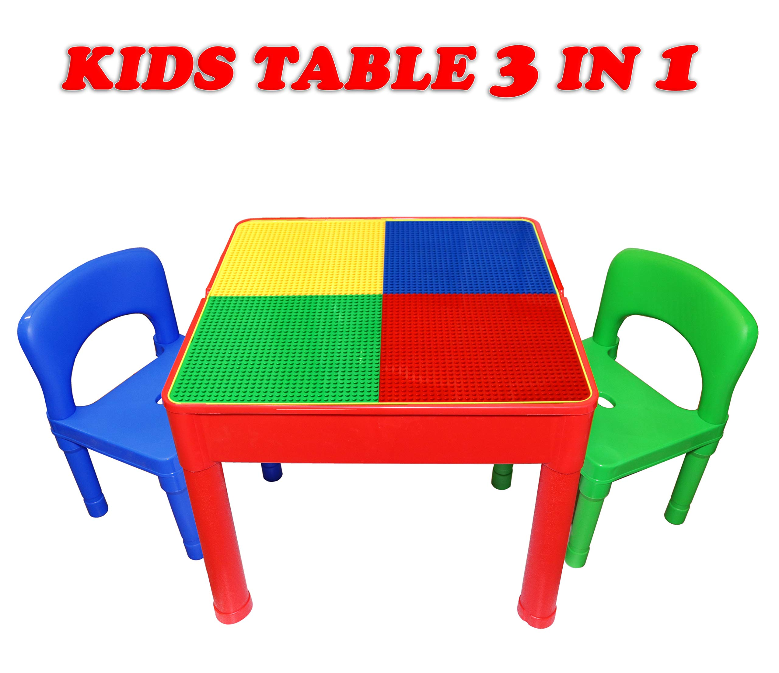 Kids Activity Table and Chair Set - 3 in 1 Kids Table Use As A Water Table, Building Block Table, Play and Arts and Crafts Table, with Storage Space, for Kids, Toddlers - Includes Table and 2 Chairs by Smart Novelty