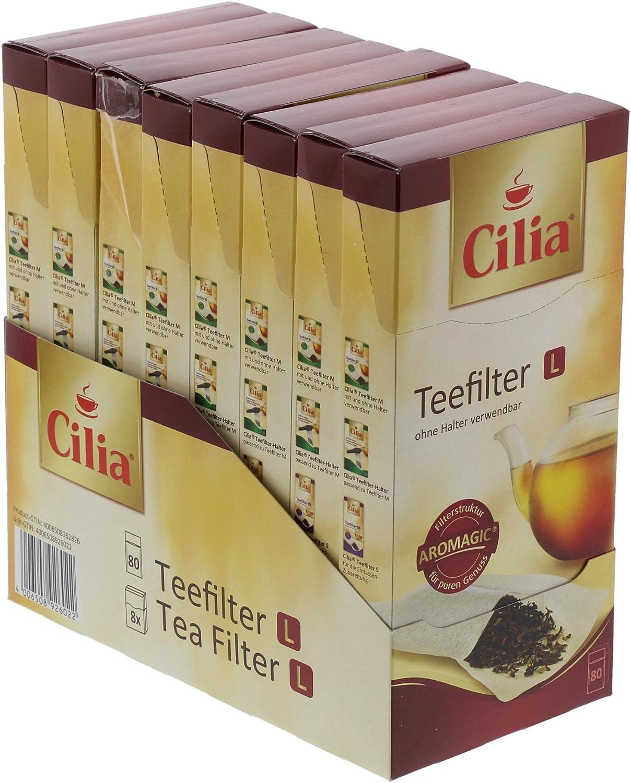 con Solapa de Cierre Papel Aromagic Cilia Filtros de t/é 80 Unidades tama/ño L 0,1x0,84x1,84 cm Blanco