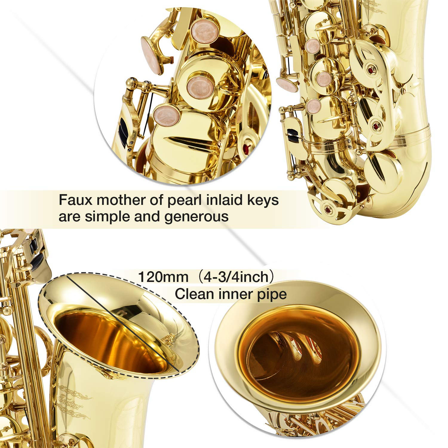 Eastar AS-Ⅱ Student Alto Saxophone E Flat Gold Lacquer Alto Sax Full Kit With Carrying Sax Case Mouthpiece Straps Reeds Stand Cork Grease by Eastar (Image #5)