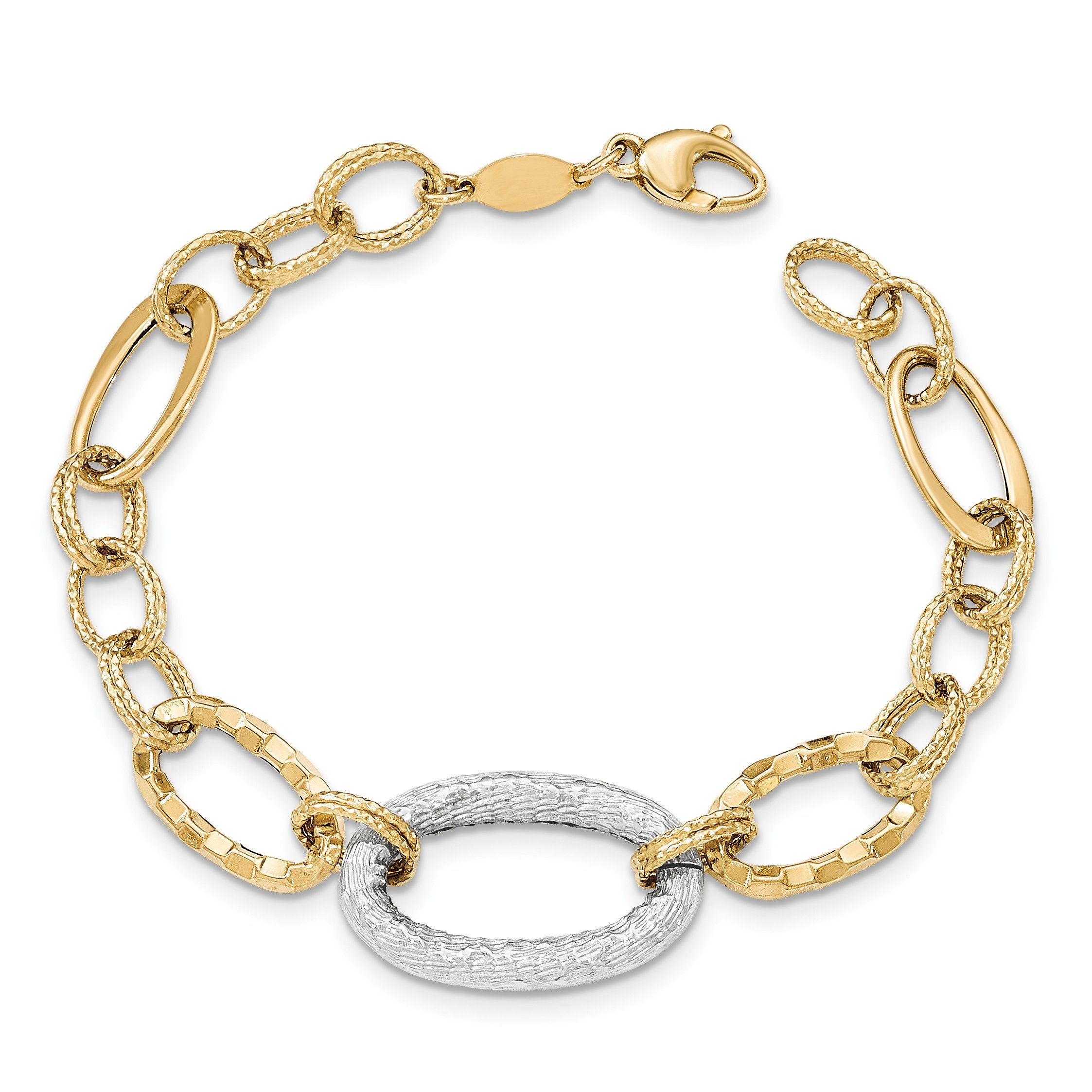 ICE CARATS 14k Two Tone Yellow Gold Textured Link Bracelet 7.50 Inch Fine Jewelry Gift Set For Women Heart