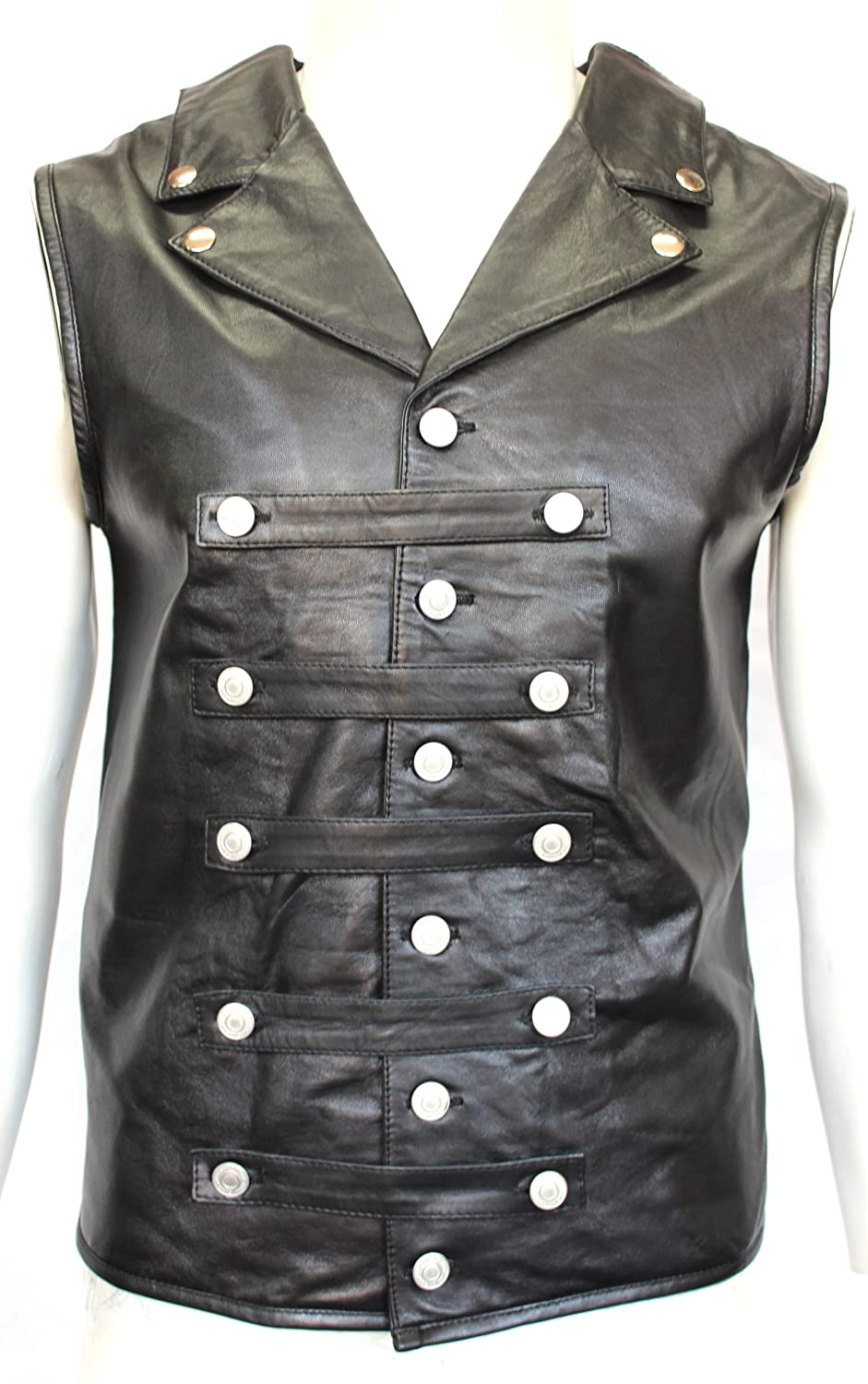 Mens Gents BLACK Steam Punk Rock Gothic Lace Corset Vest 100% Leather Waistcoat