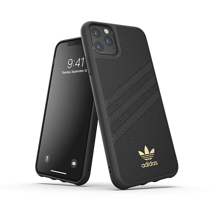 adidas Custodia Originals Compatibile con iPhone 11 Pro MAX, Cover Protettiva per Telefono PU Stampata Premium Nero Oro