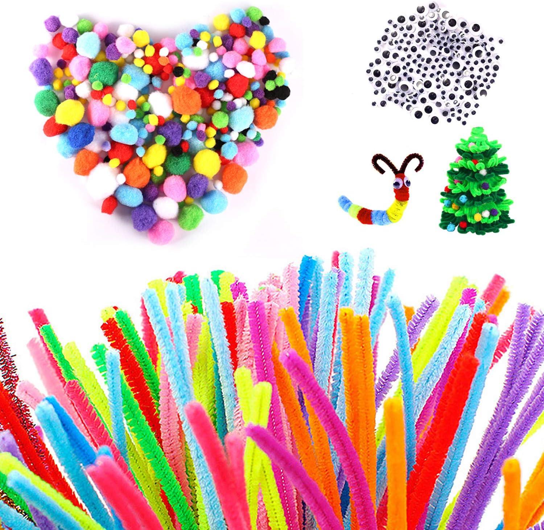 Yosemy Limpiapipas Manualidades Colores Juego de Limpiapipas Decoraciones Creación de Bricolaje Manualidades para Niños (300 Chenilla Tallos+300 Pompones+200 Ojos Autoadhesivo)