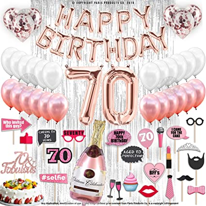70th BIRTHDAY DECORATIONS WITH PHOTO PROPS | 70 Birthday Party Supplies| 70 & Fabulous Cake Topper Rose Gold Banner| Rose Gold Confetti Balloons for ...