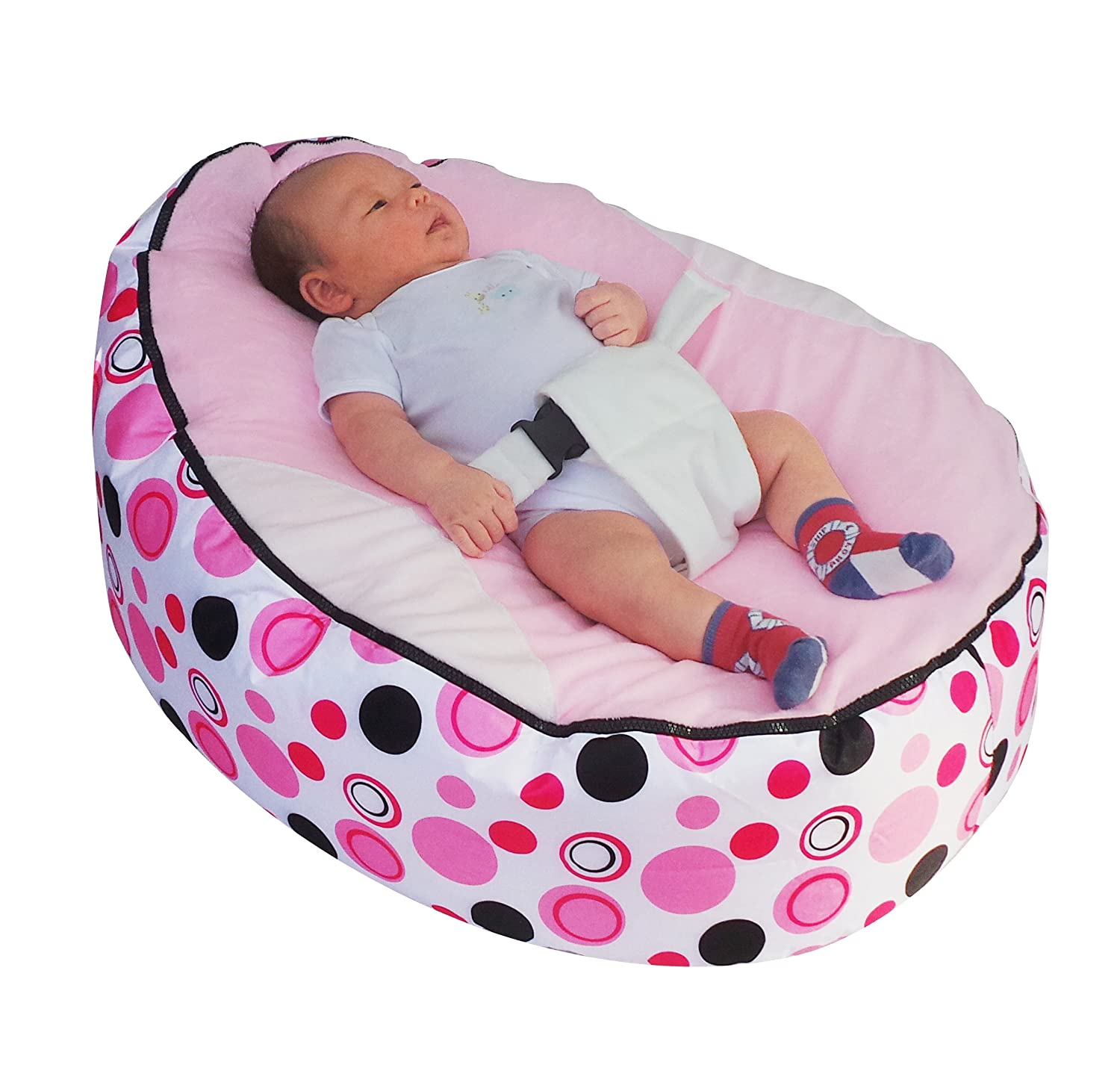 Baby Bean Bag snuggle bed bouncer with Safety Harness & 2 Removable Covers Mama Baba