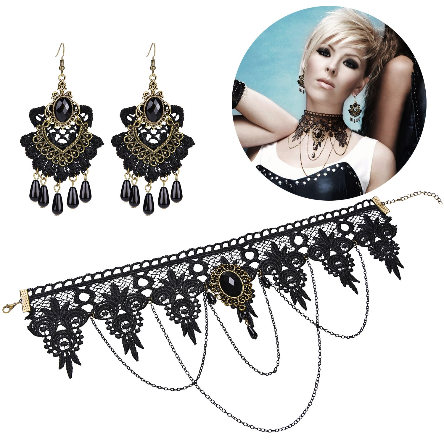 Aniwon Punk Style Wedding Party Black Lace Choker Beads Tassels Chain Pendant Necklace Earring Set for Women… by Aniwon (Image #9)