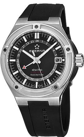 Eterna 7740,40,41,1289 42 mm KonTiki automático de acero inoxidable para hombre de goma en color negro para hombre anti-reflectante Sapphire reloj: ...