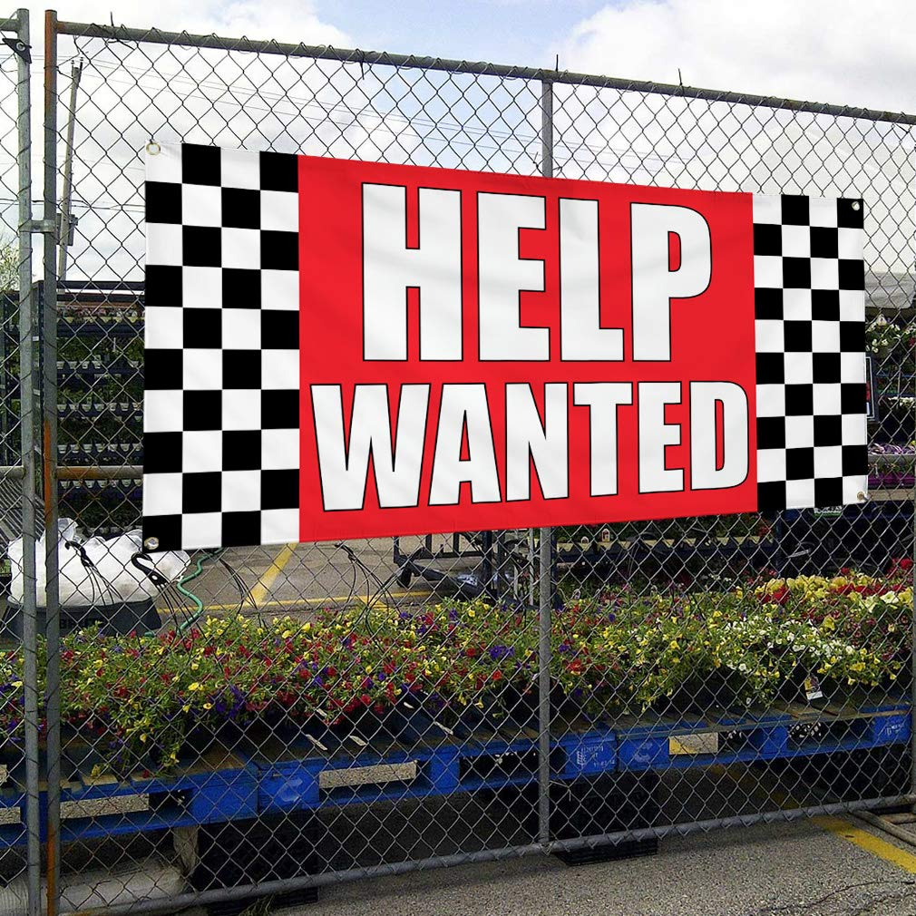 Set of 2 4 Grommets Vinyl Banner Sign Help Wanted #1 Business Help Outdoor Marketing Advertising Red 28inx70in Multiple Sizes Available