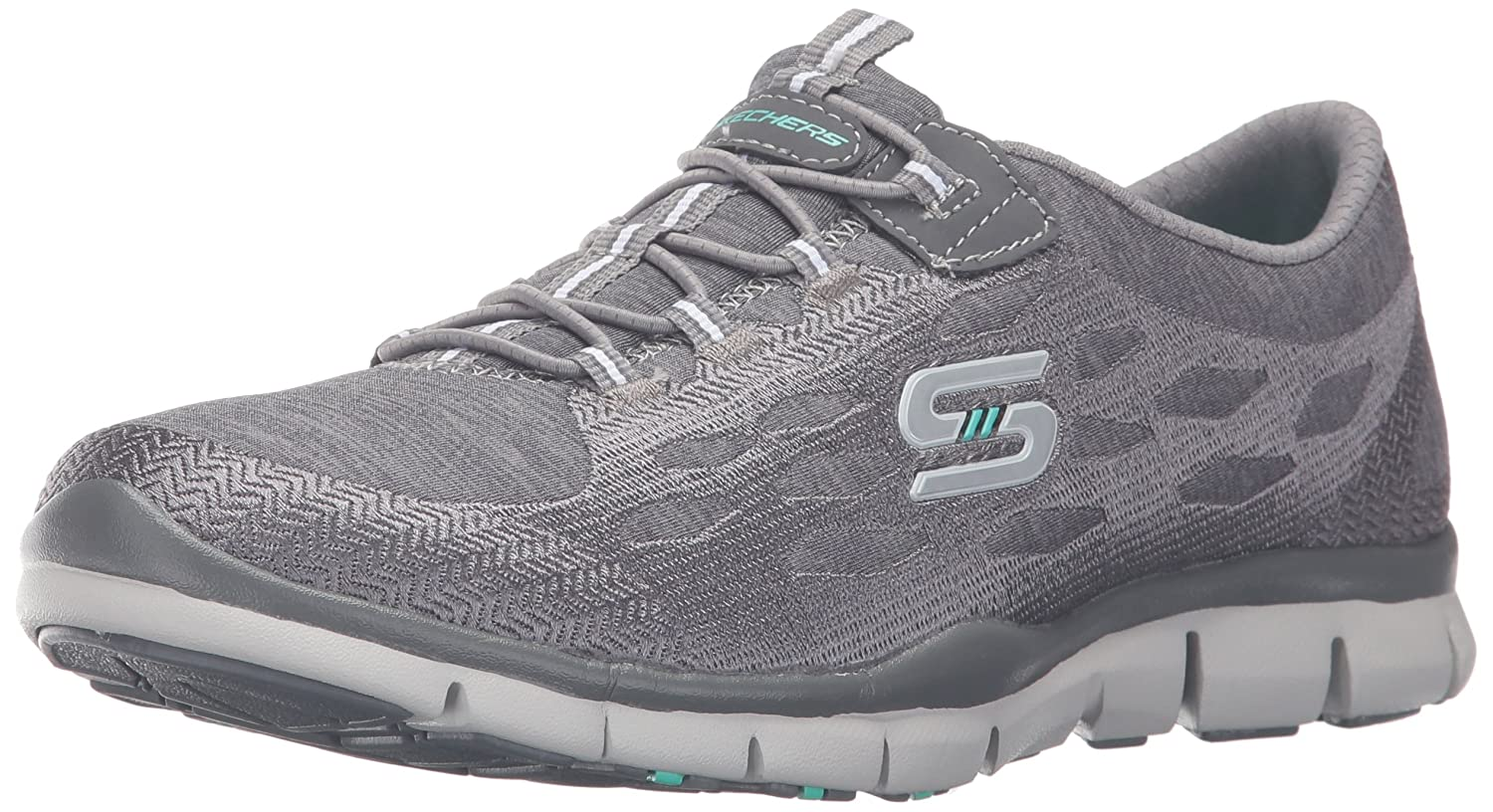 Skechers Sport Women's Gratis Bungee Fashion Sneaker B01AAVM4IY 8 B(M) US|Grey/White