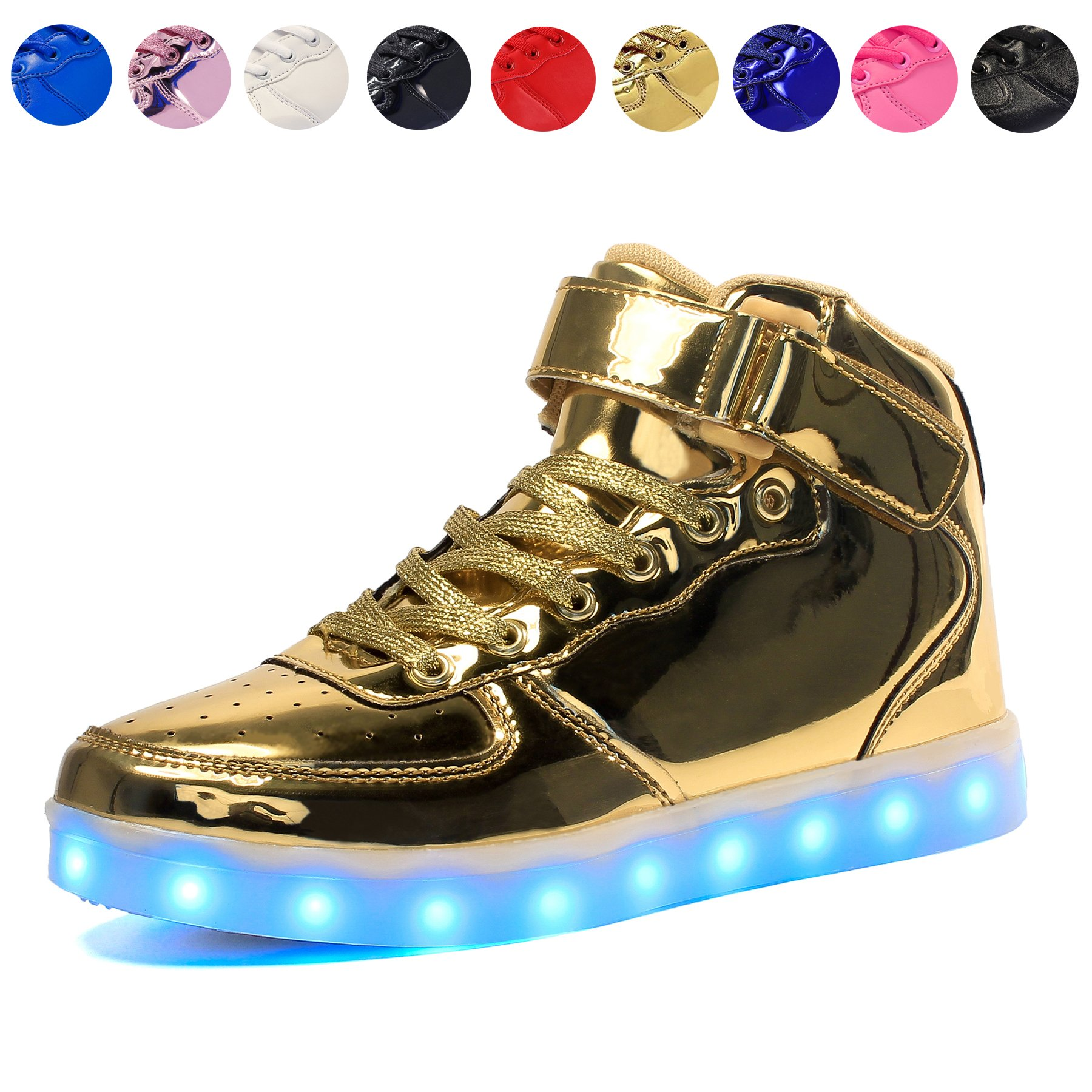 Voovix Kids LED Light up High-top Shoes Rechargeable Hi-Shine Glowing Sneakers for Boys and Girls Child Unisex(Gold,US9.5/CN27)