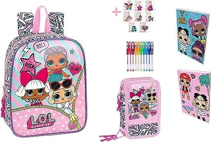 Mini mochila Asilo Lol Surprise + Estuche con 3 cremalleras completo + Diario + Llavero + 10 bolígrafos de colores: Amazon.es: Oficina y papelería