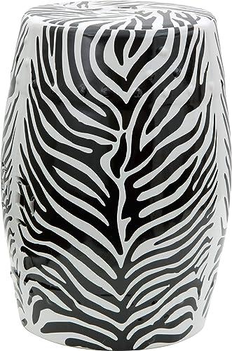 Oriental Furniture 18 Zebra Leaf Porcelain Garden Stool