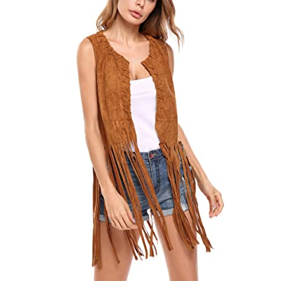 Hotouch Women Fringe Vest Faux Suede Tassels 70s Hippie Clothes Open-Front Sleeveless Vest Cardigan Female at Women's Coats Shop