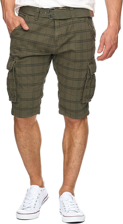 Indicode Caballero Monroe Check Pantalones Cortos Cargo a Cuadros con 6 Bolsillos y cinturón de 100% algodón | Más Corto Pantalón Bermuda Verano Pantalones Men Pants para Hombres